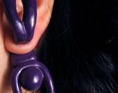 Purple falling little body - Fake plugs earrings