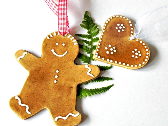 Ceramic Ornament Gingerbread Man and Heart Caramel White Dots Decoration in Recycled Box Set of 2