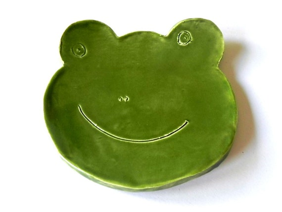 Frog Ceramic Plate Green Dish Animal Spoon Rest St Patrick Day Gift