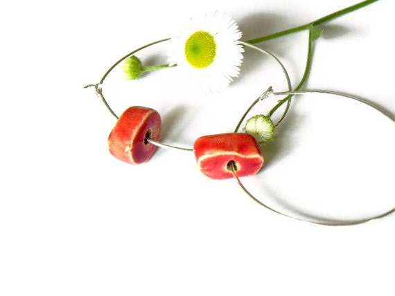 Minimalist Loop Earrings Red Ceramic Bead Sterling Silver Plated Hoop Pottery Eco Friendly Jewelry