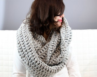 Chunky Cowl or Infinity Cowl Crochet in Grey Marble - Handmade for you (custom color option)