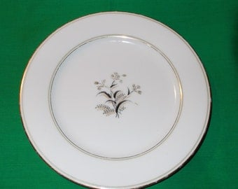 "One (1) 8 1/4"" Porcelain Salad Plate, from Noritake China, in the Winton 5521 Pattern."