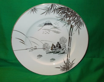 """Four (4), 10 1/2"""" Porcelain Dinner Plates, from Kutani, in the N0. 570 Pattern."""