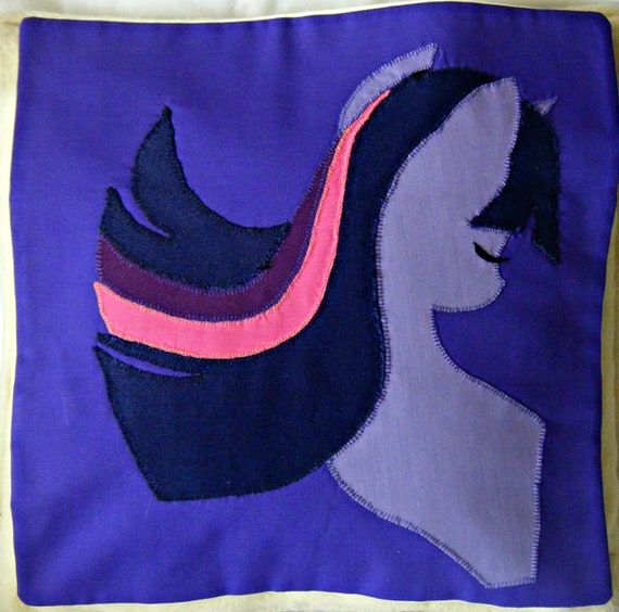 "SALE: Cushion cover, Twilight Sparkle, MLP FiM Handmade decorative cushion, free motion appliqué, appr.10"" / 26cm"