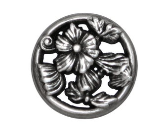 12 Ring Flower 3/4 inch ( 19 mm ) Metal Buttons Silver Color