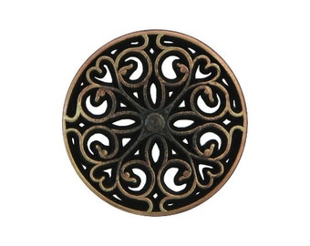 2 Filagree Heart 3/4 inch ( 20 mm ) Metal Buttons Antique Brass Color
