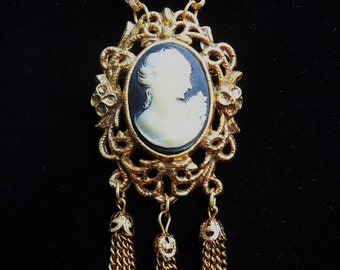 Necklace with Cameo Brooch Pendant
