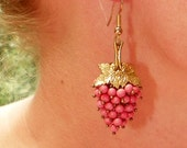 Fall Winter Czech Coral Salmon Pink Grape 30's Earrings