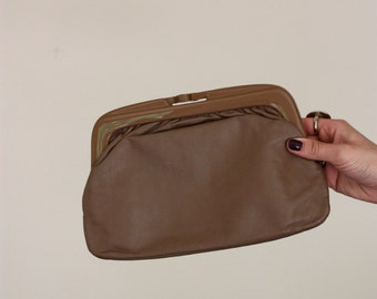 Vintage Taupe Genuine Leather Slim Clutch