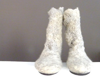 Wool Felted Boots, Felted Boots, Lacy Crochet  Boots, Out/Indoor Boots, Vibram Sole Boots, Slow design. momoish made.