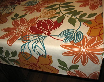 Designer Tablecloths by GreenSage® - Beige Background with Ochre & Teal Colors in a Mod Floral Design