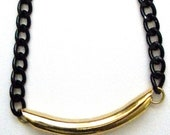 Luxe Rock Black & Gold Necklace - Big Straw Tube with Chunky Black Metal Chain