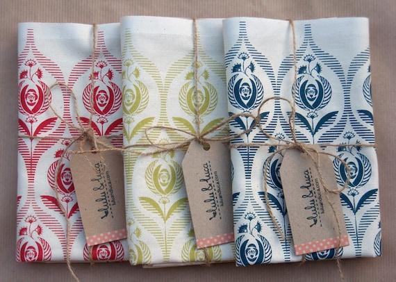 Art deco rose tea towel set of 3