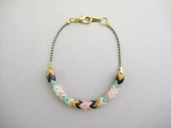 SALE -- Single Strand Chevron Bracelet - Pattern - White/Pink/Mint/Black/Peanut