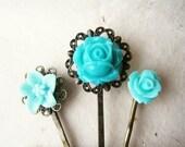 Teal Flower Hair Pins. Hair Accessories. Rose, Rosebud & Lily. Bronze Filigree Bobby Pins. Set of 3. Summer Hair Styles. Mint Blue Flowers