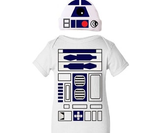 Droid Robot Halloween Infant Toddler One Piece Bodysuit Creeper and Hat Set Boy / Girl / Unisex Baby - Funny Geek Baby Shower Gift