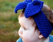 Knitted Head Band for Baby Girl with Big Bow, Baby Knitted Headband Earwarmer, Toddler Knit Headband, Baby Girl Bow Headband