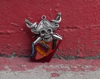 Red and Orange Glass Pirate Pendant