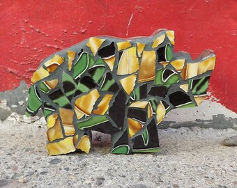 Mosaic Rhino, Childrens Decor, Tile Animal, Shelf Art, Nursery Room, Kids room