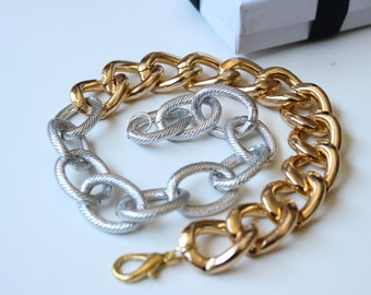 Double Wrap Two Toned Gold and Silver Textured with Curb Chain Bracelet