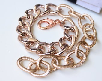 Rose Gold Double Wrap Chunky Curb & Textured Chain Bracelet