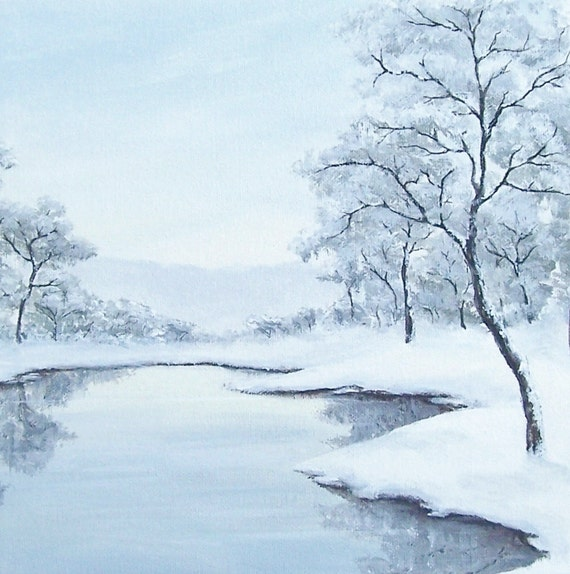 """Original Winter Landscape Painting, Snowy Landscape, Winter Trees Painting, Tree, Water, Light Blue, White, Grey, Gray, Acrylic 10"""" X 10"""""""