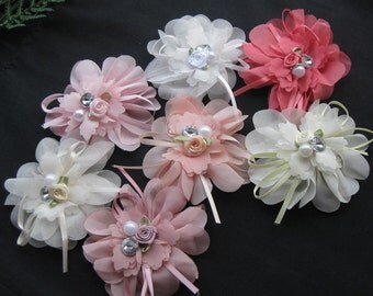 7pc Upick Organza Ribbon Flower Appliques wedding Sewing Big flower A2052