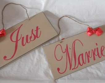 DOUBLE sided Khaki and coral 2 piece here comes the bride/ just married sign set