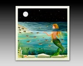 Mermaid and Baby Turtles Ceramic Tile with Hook or Coaster
