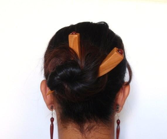 Wooden hair sticks, Wood, Cherry, Padauk, Hairpin, Hair chopsticks, Handmade
