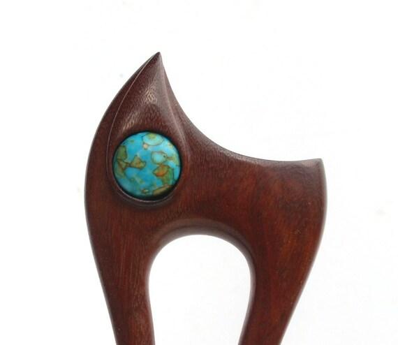 Wooden hair fork, 2 prong, Hair sticks, Wood, Mosaic Turquoise, Teak, Hairpin, Handmade, Gemstone
