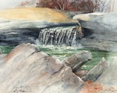 Tryst Falls, Missouri - print of original watercolor by Cathy Johnson