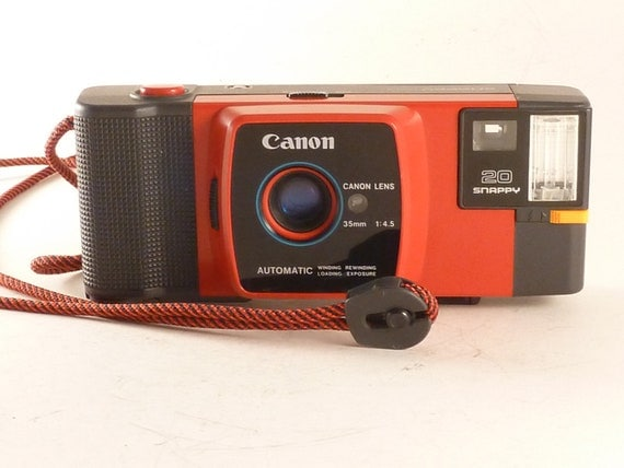 WORKING Red Canon 20 Snappy 35mm Point and Shoot Camera