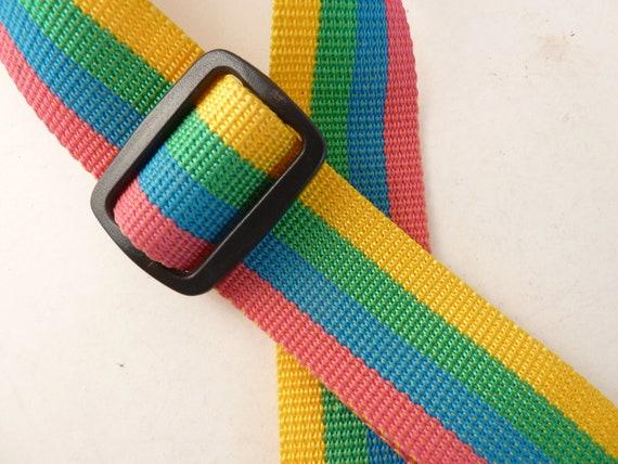Vtg Color Stripe Camera Strap, Rose, Sky Blue, Mint, Marigol////Like New