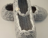 Lacy Crochet Skinny Flats - Adult Mary Jane Slippers in Gray & White
