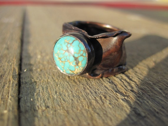 Reserved Listing- Wabi Sabi Ring- Turquoise and Copper Ring