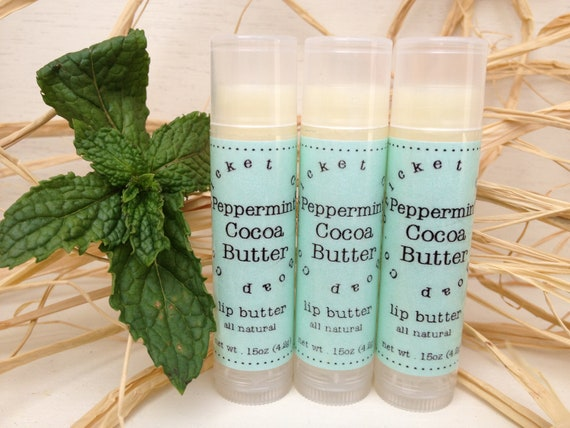LIP BUTTER - Peppermint Cocoa Butter All Natural Lip Butter - lip balm - gift idea