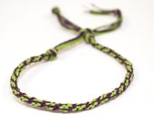 Eco Friendly Hemp Mens Bracelet Kumihimo Joker Green & Purple Custom Personalize Colors Jewelry