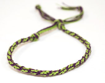 Eco Friendly Hemp Mens Bracelet Kumihimo Joker Green & Purple Custom Personalize Colors Jewelry