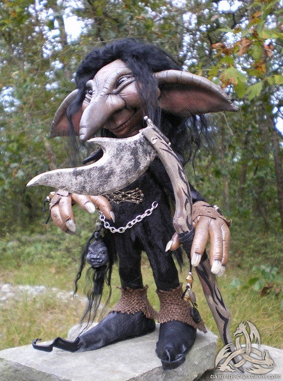 Hogbin, OOAK Hobb Goblin with shrunken goblin head, hand sculpted polymer clay with soft body/Free Shipping see details