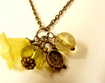 Clock Necklace Yellow Necklace Vintage clock charm pendant yellow flower acrylic