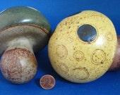 Mid Century Magic Mushrooms Salt And Pepper Retro Stoneware USA Made 1960s