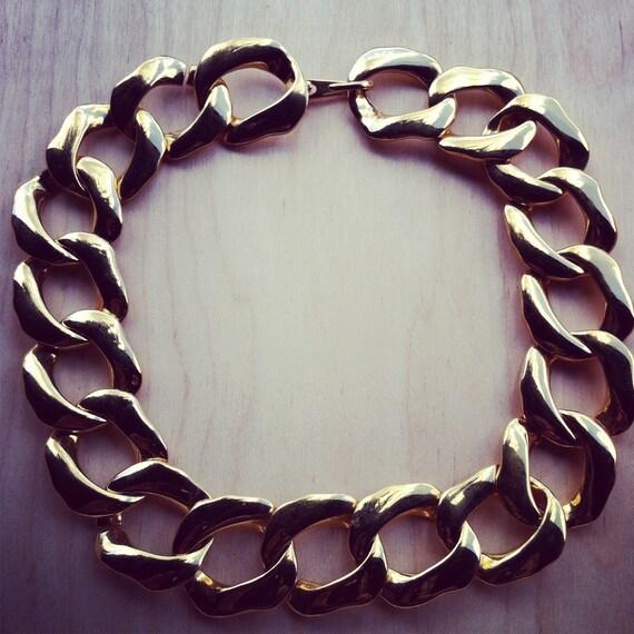 Vintage Gold Large Chunky Link Necklace 1960s