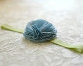 light blue fabric flower on light green headband--eco friendly hair accessory