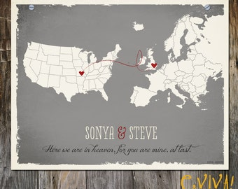 USA Europe Custom Grey Wedding Print Destination Wedding Gift  Memento Marriage Couple print alternative Signature Guest Books