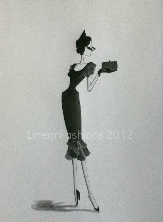 Fashion Illustration Art 1950s Black Cocktail Wiggle Dress Decor