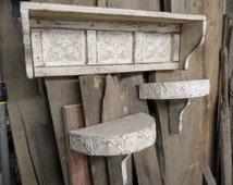French country wall shelf, cottage chic shelves, shabby chic wall shelves, primitive wall shelf, antique style wall shelf