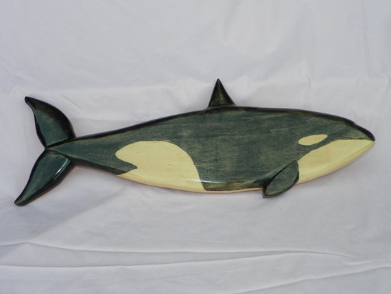 Orca Killer Whale Wood Carving Wall Art OOAK