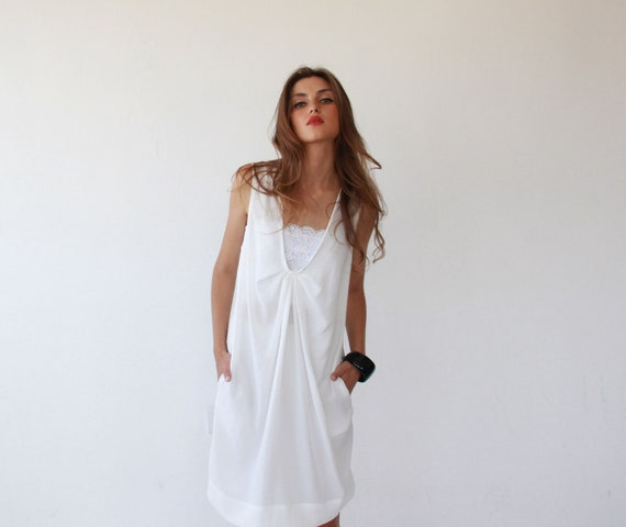 White sundress , loose and comfortable