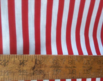 "Poly Cotton Thin 1/2 inch Stripes Print Red/ White 60"" Fabric by the Yard - 1 Yard"